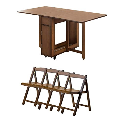 YUNLILI Thicken Bamboo Dining Table and Chair Set, Retractable Folding Dining Table Home Multifunctional Desk With Universal Lockable Casters, Brown Multifunction