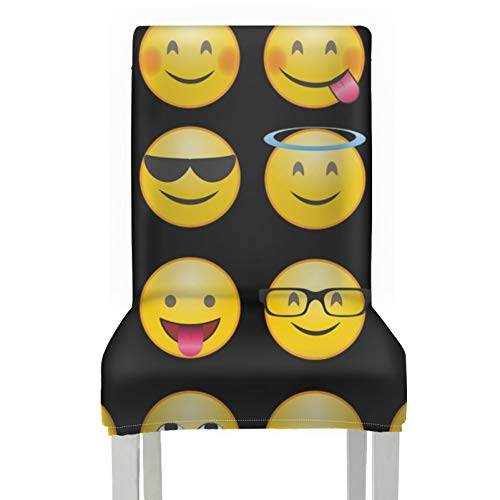 Dining Chairs Cover Expression Smilie Whatsapp Emotion Laugh Face Happy Cover For Dining Room Chairs Polyester Stretch Removable Washable Dining Chairs Cover For Home Kitchen Party Restaurant Wedding