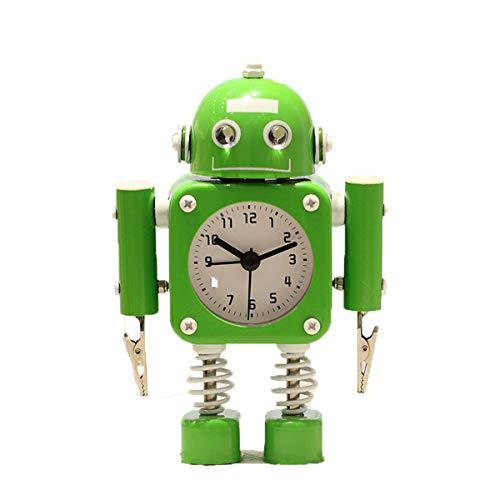 zhangcheng Roboter Wecker Edelstahl-Weckuhr mit blinkenden Augenlichtern und Handklammern,Cartoon Kinder Stiller Wecker