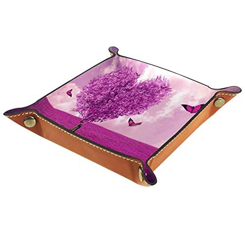 Caja de almacenamiento pequeña, bandeja de valet para hombre,Mariposa de árbol de forma de corazón de San Valentín,Organizador de cuero para llaves de caja de monedas