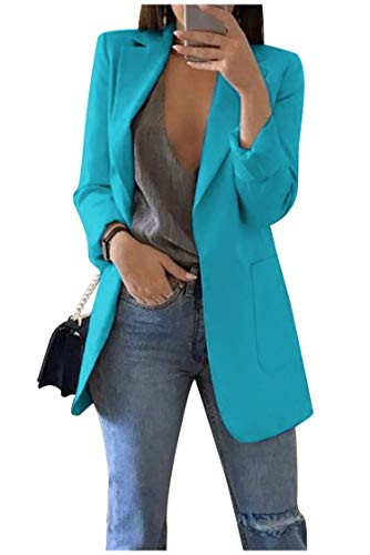 Landove Donna Giacca Blazer Open Office Reverse Cardigan Piccolo Blu