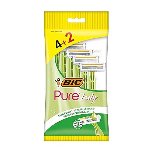 Bic Pure 3 Lady - Cuchillas de afeitar desechables para mujer (4 + 2 unidades)