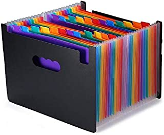 1pcs 24 Pockets File Folder Multicolour Stand Expandable Portable Accordion A4 File Rainbow Document Bag Office School Sup...