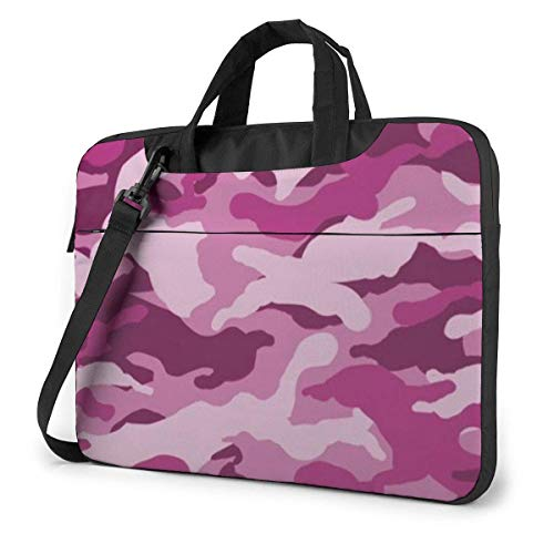 Pink Camo Laptop Shoulder Bag 15.6 Inch Laptop Messenger Case Laptop Sleeve Carrying Case with Strap