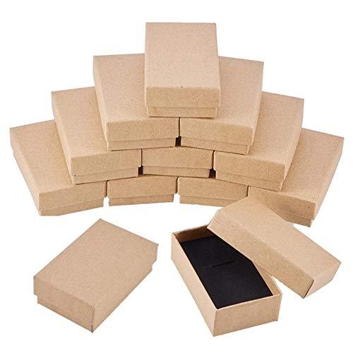 12 piezas Kraft Brown Square Cartón Cajas de anillos de joyería Cartón de joyería Papel Caja de regalo al por menor para collares Aniversarios Bodas Fiesta Festivales Cumpleaños 5x8x2.5cm