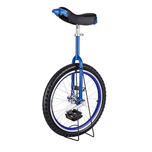 JFF Monociclo Bicicleta con Ruedas Neumático Antideslizante Bicicleta De Llanta De Aleación Ajustable En Altura con Soporte De Almacenamiento Resistente Equilibrio Ciclismo Ejercicio Fitness,Azul,18