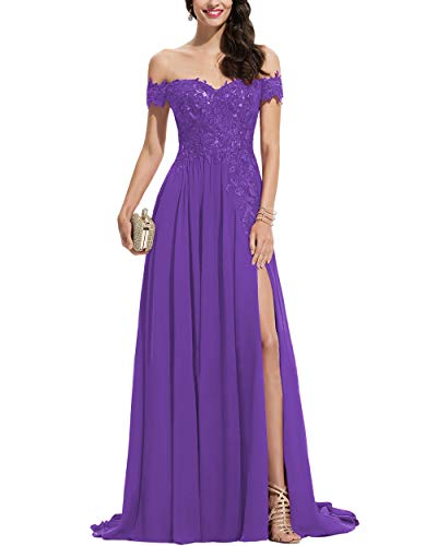 Noras dress Women's Off Shoulder Long Prom Dresses with Split Lace Appliques Chiffon Formal Evening Party Gown Tahiti 8