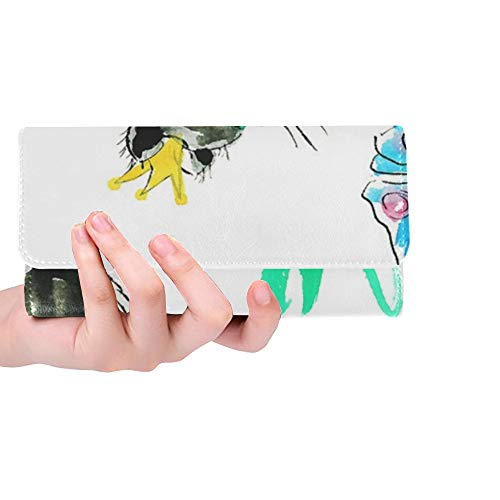 Unique Custom Cat Animals Domestic Cat Butterfly Catch Mieze Women Trifold Wallet Long Purse Credit Card Holder Case Handbag