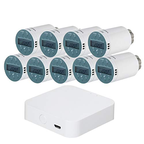 Termostática Inteligente, Controlador de termostato WiFi KKmoon Termostática compatible Cabezal termostático Inteligente...