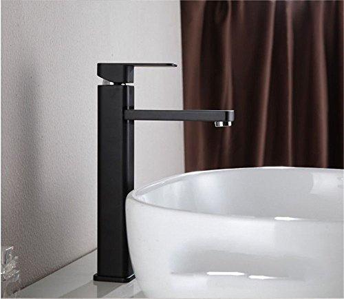 Grifo mezclador para lavabo, WATER TOWER moderno con cuerpo de llave de latón, color negro mate mate, grifo de lavabo, aleación de cobre, de sección alta, grifo largo de agua caliente y fría