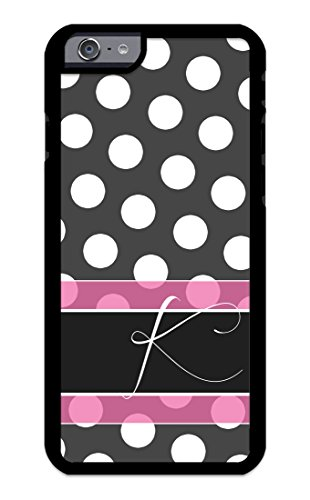 Custom Phone Cases for iPhone 6, iPhone 6S, iZERCASE [White Polka Dots Pink Line] Make Your Own Phone Case, Monogram Personalized Case (Pink)