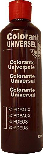 Bordeaux Colorant Universel Concentré 250 ml pour toutes peintures décoratives et bâtiment. Grande compatibilité aussi bien en milieux solvant et aqueux. Convient également à la coloration des enduits , plâtres , et résines. Grande facililté de dosage grâce à son bouchon compte goutte