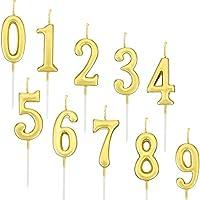 Yaomiao 10 Piezas de Velas de Números de Cumpleaños Velas de Tartas Topper de Pastel Dorado de Número 0-9 Adornos para Favores de Fiesta de Cumpleaños (Dorado)