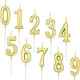 Yaomiao 10 Piezas de Velas de Números de Cumpleaños Velas de Tartas Topper de Pastel Dorado de Número 0 - 9 Adornos para Favores de Fiesta de Cumpleaños (Dorado)