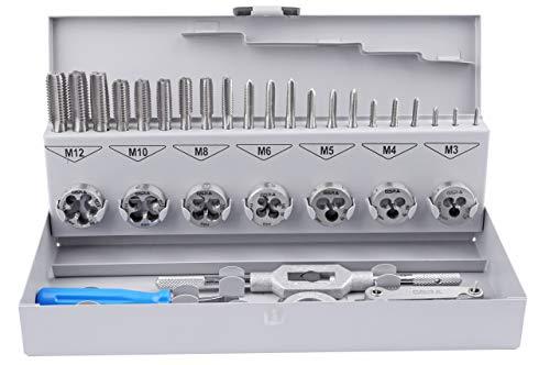 GSR PROFI 32 teilig Gewindeschneider Set metrisch M3 bis M12 HSSG | Handgewindebohrer, Gewindeschneider, Schneideisen, verstellbares Windeisen, Schneideisenhalter, Gewindeschablone
