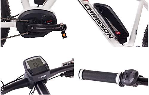 419YxrTSJXL - CHRISSON 27,5 Zoll E-Bike Mountainbike Bosch - E-Mounter 2.0 Weiss 48cm - Elektrofahrrad, Pedelec für Damen und Herren mit Bosch Motor Performance Line 250W, 63Nm - Intuvia Computer und 4 Fahrmodi