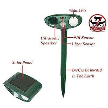 Répulsif solaire à ultrasons pour animaux de compagnie Pour jardin, chien, chat Avec capteur PIR, 2pièces