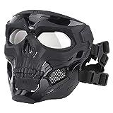 ATAIRSOFT Masque de Protection Complet réglable crâne Protecteur pour Airsoft Paintball Cosplay Costume Party (Noir)