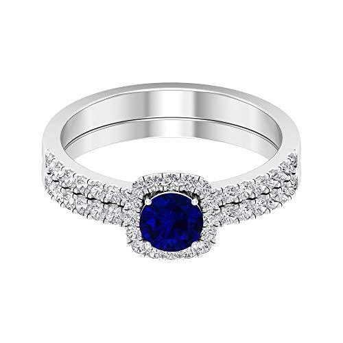 Rosec Jewels 14 quilates oro blanco redonda Blue Blue Sapphire Diamond