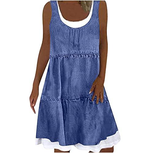 Robe d'été pour femme - Sans manches - Longueur genoux - Boho - Ligne A - Col en U - Décontractée - Mini robe de plage - Avec imprimé papillons et fleurs. - Multicolore - Taille Unique