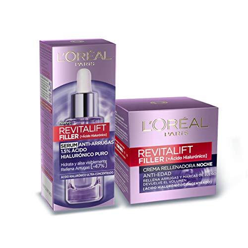 L\'Oreal Paris Revitalift Filler Set de Sérum Facial Antiarrugas y Crema de Noche Revitalizante, con Ácido Hialurónico Puro, 30 ml y 50 ml