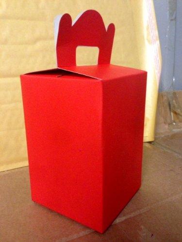 Lot de 10 boîtes à déjeuner rouges pour fêtes pour enfants., Carton, Red, 1 pièce