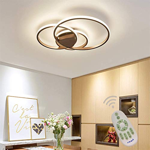 Dimmable LED Ceiling Light Modern Living Dining Room Lamp Ring Designer Ceiling Lamp with Remote Control Fashion Minimalist Metal Acrylic Lighting Lounge Bedroom Kitchen Lights D55*H8cm (Brown)