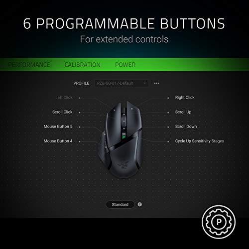 419YzjQtkJL. SL500  - Razer Basilisk X HyperSpeed Wireless Gaming Mouse: Bluetooth & Wireless Compatible, 16K DPI Optical Sensor, 6 Programmable Buttons, 450 Hr Battery, Classic Black