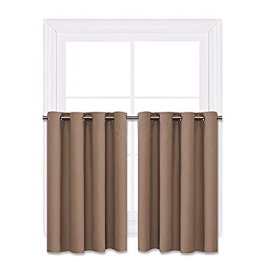 NICETOWN Blackout Valance Tiers for Small Window - Grommet Top Window Treatment Blackout Tier Panel Drapes for Bedroom (Cappuccino, 2 Pcs, W52 x L36-Inch)