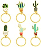 Megrocle 6 Pack Cactus Shape Key Ring Keychains Car Pendant Key Buckle for Hang Bag Purse Phone
