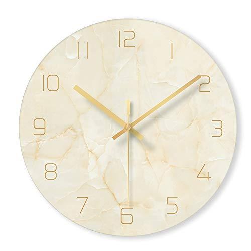 WJXBoos Glas Klar Marmor-textur Wanduhr, 12 Zoll Leise Dekorative Quarzuhr Für Wohnzimmer -Bett-Zimmer Office Kein Ticken-beige 12 Inch (30 cm)