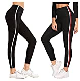 fasla Women's Lycra Gym Wear Ankle Length Workout Trousers, Striped Stretchable Jeggings, High Waist Sports Fitness Yoga Track Pants Leggings (Black, Grey, Free Size)