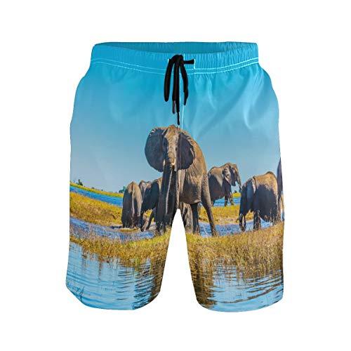 Hunihuni Herren Strandhose Afrikanischer Tier-Elefant Drawsting Badehose Badeanzug Bademode Netzfutter mit Tasche Gr. XL, Mehrfarbig