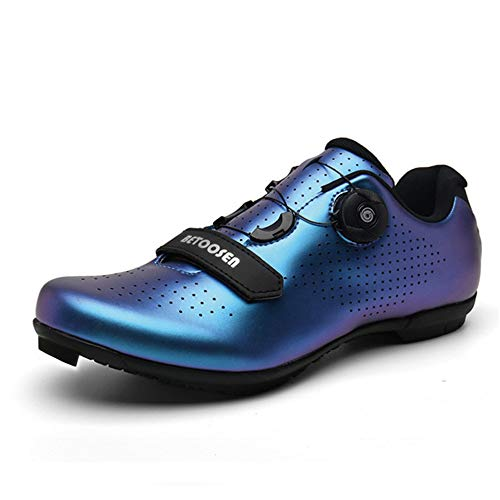 BETOOSEN Men's women's breathable road bike cycling shoes MTB biking shoe Indoor riding cycling Exercise Shoes with quick lace compatible with SPD cleats (5 M US Women/4.5 M US Men, Fluorescent blue)1