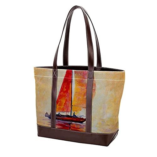 NaiiaN Correa de peso ligero Bolsos de hombro Bolsos Bolso de mano Monedero Compras para madres Mujeres Niñas Señoras Estudiante Reloj de sol navegando en el mar naturaleza colorida
