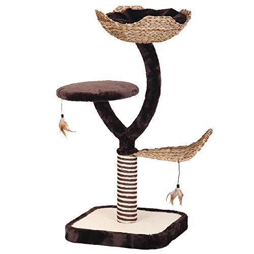 Croci tiragraffi per Gatti Natural Magnolia, in Materiali Naturali, con sedute, Cuscini, Parti graffiabili, Misura 45x45x99cm