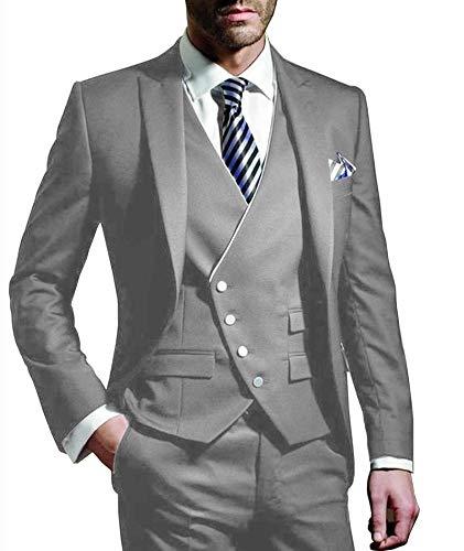 Outwear Traje de 3 piezas para hombre con muescas y etiqueta