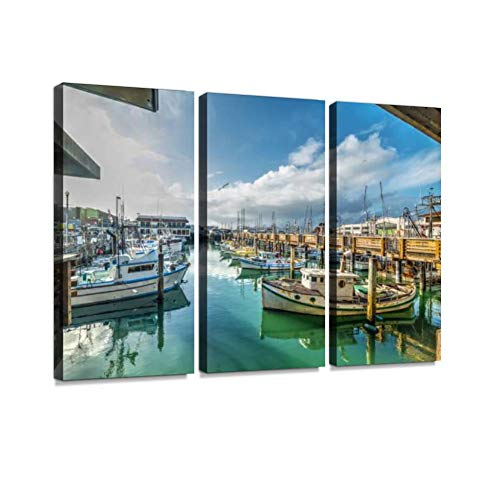 YKing1 Boats in Fisherman's Wharf in San Francisco Wall Art Painting Pictures Print On Canvas Stretched & Framed Artworks Modern Hanging Posters Home Decor 3PANEL