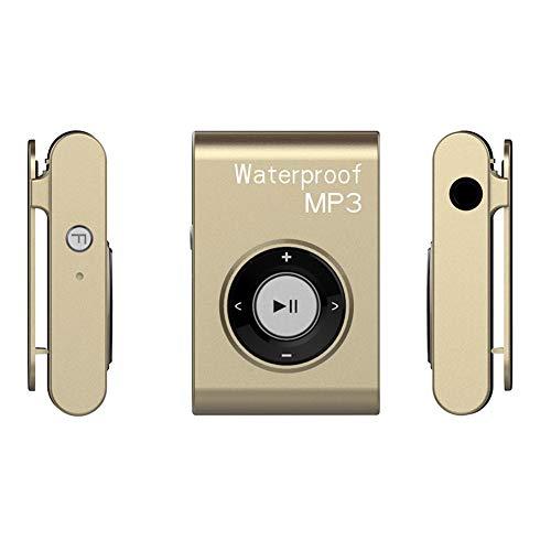 YCYLMQ Reproductor MP3 Waterproof IPX 8, 8GB De Natación Reproductor De Mp3 con Auriculares De Cable Corto, Shuffle Característica, MP3 para Hacer Surf En El Agua, Correr, Gimnasio,Oro,16GB