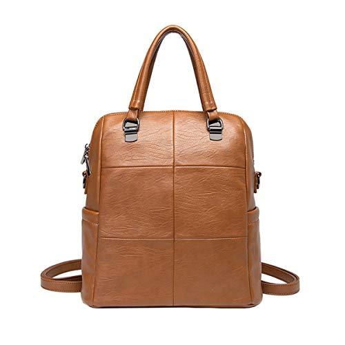 Tisdaini® Damen Rucksackhandtaschen PU-Nähte modische diebstahlsicher reise freizeit schulrucksack Braun1