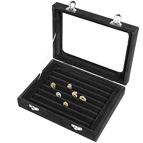 Lavcus Earring Storage Case 7 Slots Ring Velvet Display Case Box Earring Ring Organizer Velvet Jewellery Tray Cufflink Storage Showcase with Clear Glass Lid (Black)