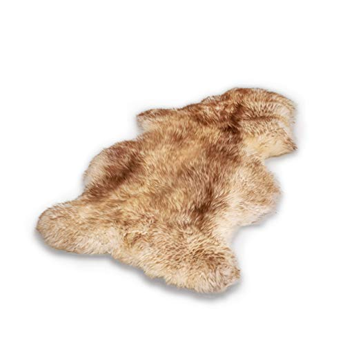 Schafshaut Store: 100% piel de oveja y cordero. Suave y mullida. Ideal para el salón, debajo de la chimenea, el dormitorio. Color rojo., L: 100 - 110 cm