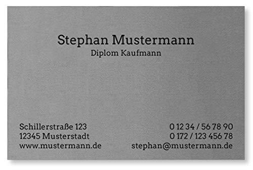 50 Visitenkarten, Feinpapier mit metallisierter Oberfläche, silber