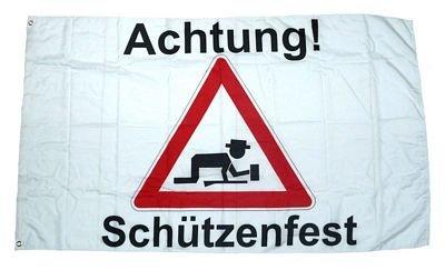 Fahne/Flagge Achtung Schützenfest 90 x 150 cm Fahnen Flaggen