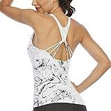 Aonour Workout Shirts for Women Built in Bra Hiking Shirts Women Moisture Wicking Gym Running Shirts...