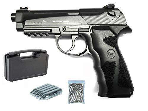 Pack Pistola Borner Sport 306M Metalica, 5 bombona CO2 + 20 Dianas + Maletin Porta Pistola Deluxe Acolchado+ Municion BB´s Daisy 350 Bolas.