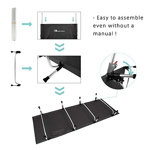 419Z0EON6WL - MOON LENCE Folding Camping Cot Outdoor Camping Bed Portable with Carry Bag Camp Cot for Adults for Hiking Backpacking Car Camping Outdoor&Indoor Use