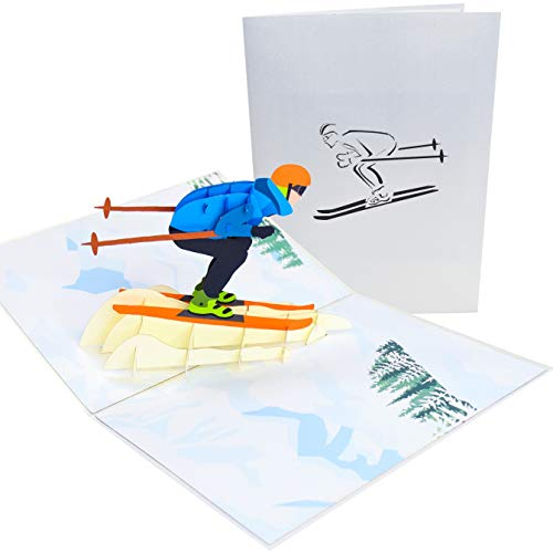 PopLife Mountain Skier 3D Pop Up Greeting Card - Birthday Card for Ski Bums and Snow Lovers,...