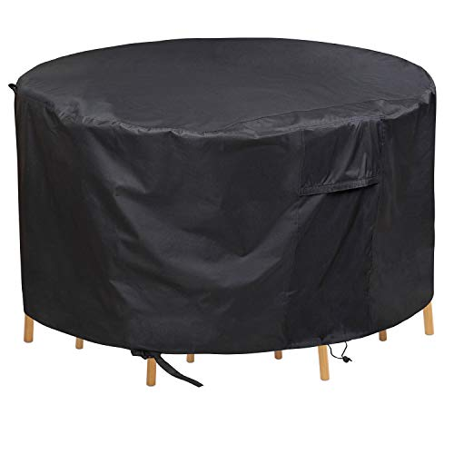 PATIOPTION Patio Furniture Set Covers, 600D Waterproof Outdoor Round Table and Chairs Set Heavy Duty Cover Tough Canvas UV Resistant Dustproof Anti-Fading Cover with Storage Bag - 62'' Diameter