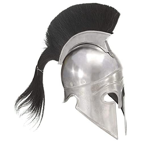 HUANGDANSP Griechischer Krieger-Helm Antik Replik für LARP Silbern Stahl Kunst Unterhaltung Hobby Kunst Sammlerstücke Sammlerwaffen